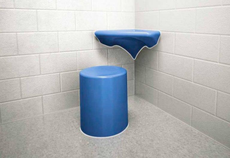 Anti-Ligature-Round-Stool with Corner Wall Mounted Desk