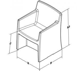 Estilo Armchair Dimensions (ES 4000-4)