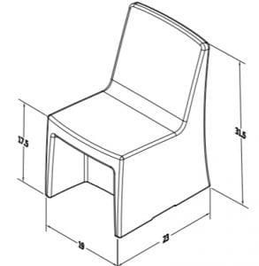 Estilo Armless Chair Dimensions (ES 4000-3)