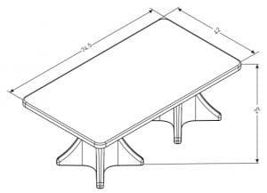 Estilo Extended Dining Table Dimensions (ES 4000-1D)