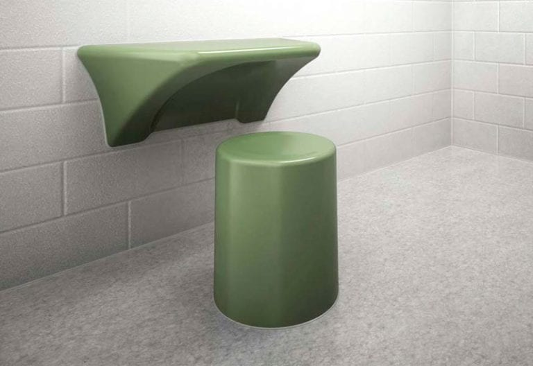 Ligature Resistant Round stool with Wall Mounted Desk