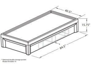 Lower Bed with Storage Dimensions (EN 6000–19)