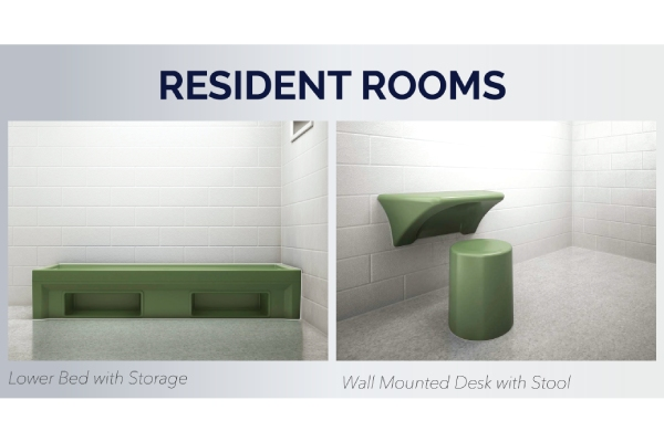 Max-secure lower bed with storage and wall mounted desk with stool