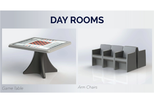 Max-Secure anti-ligature games table and arm chair